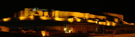 The caste at Onda, Spain, lit up at night.