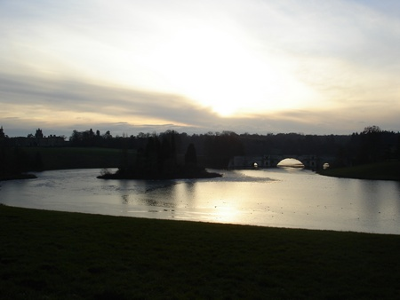 Icy lake at Blenheim Palace